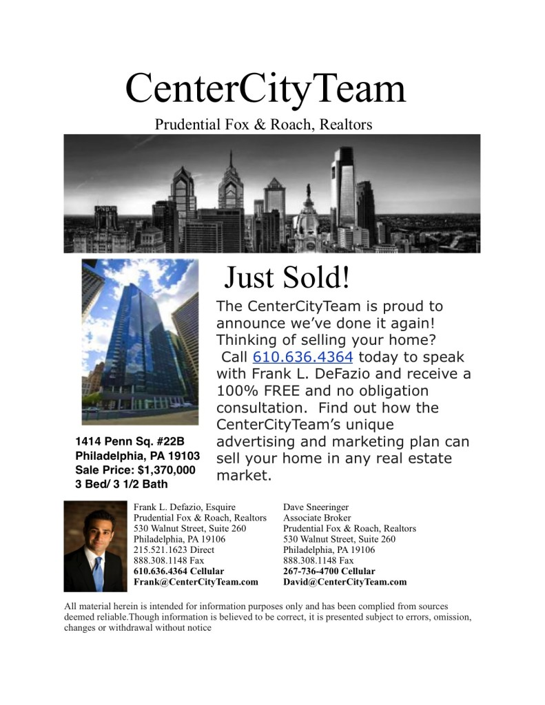 Just Sold, 1414 Penn Sq.22B